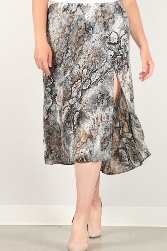 Snakeskin print skirt with high waist, button trim, and side slit-id.cc51523
