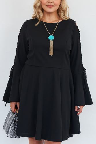 Plus size black lace up detail bell sleeve dress-id.cc51530