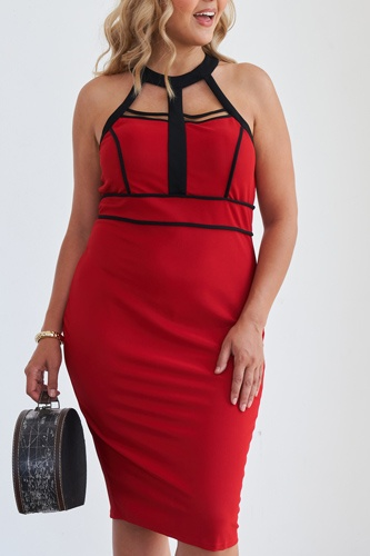 Size barbados cherry cage halter neck bodycon midi dress-id.cc51531