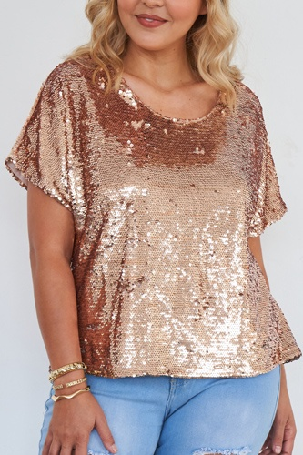 Plus size rose gold short sleeve sequin top-id.cc51534