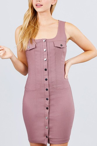 Sleeveless deep square neck button down detail mini woven dress.-id.cc51541a
