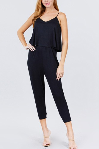 Cami layered top capri knit jumpsuit-id.cc51542