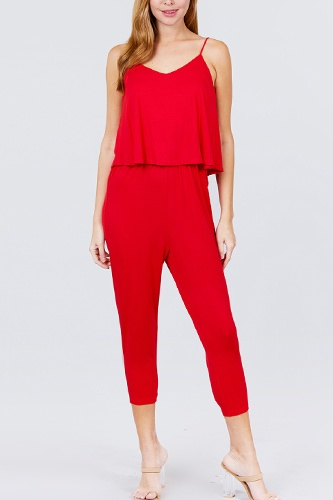 Cami layered top capri knit jumpsuit-id.cc51542b