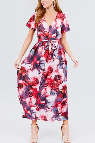 Short sleeve v-neck button down belted print woven maxi dress.-id.cc51544