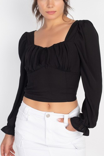 Square neck smocked crop top-id.cc51546