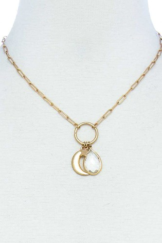 Fashion chic star and moon pendant necklace-id.cc51550