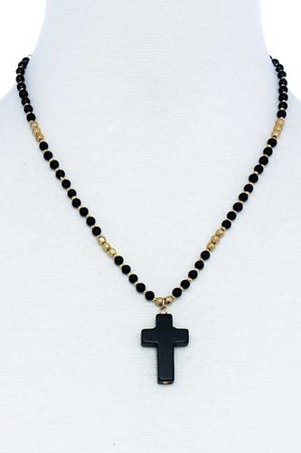 Chic beaded and cross pendant necklace-id.cc51551