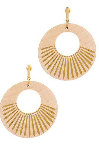 Fashion wooden circle drop earring-id.cc51560