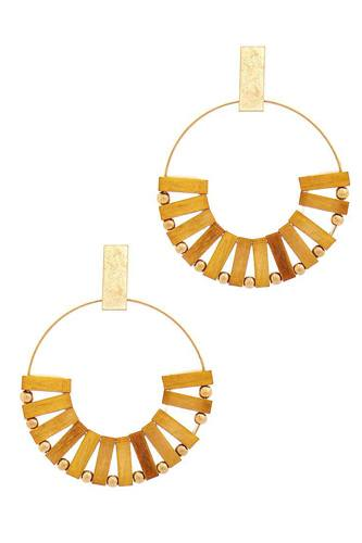 Stylish wooden bead hoop earring-id.cc51561