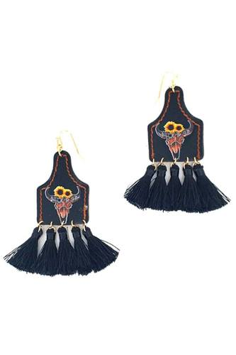 Stylish western cow skull and tassel drop earring-id.cc51564