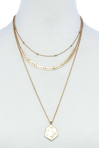 Triple layered chain and pendant necklace-id.cc51567