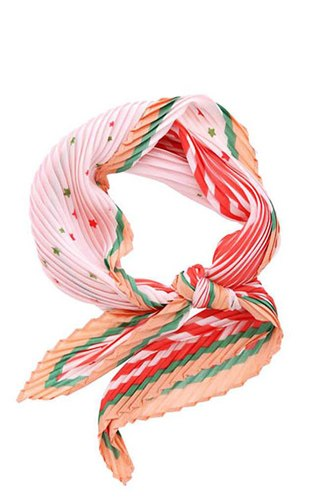 Stripe little star print pleated bandana-id.cc51575