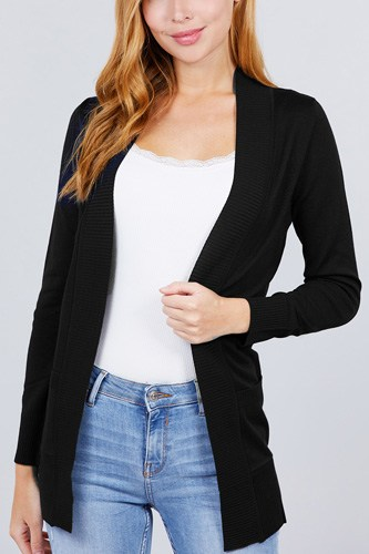 Long sleeve rib banded open sweater cardigan w/pockets-id.cc51590a