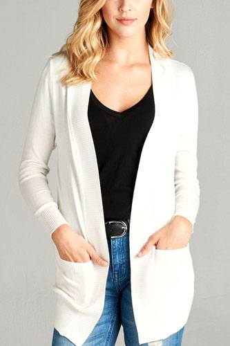 Long sleeve rib banded open sweater cardigan w/pockets-id.cc51590c
