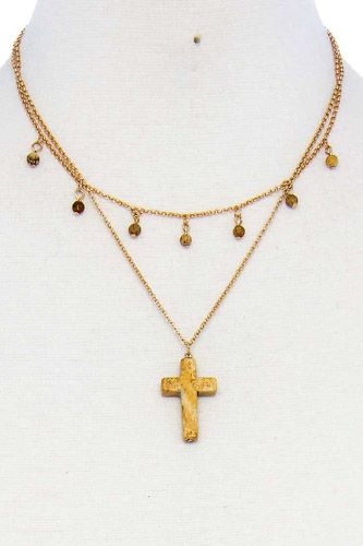 Double layered cross pendant chain necklace-id.cc51600