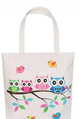 Cute owl family cartoon print ecco tote bag-id.cc51621