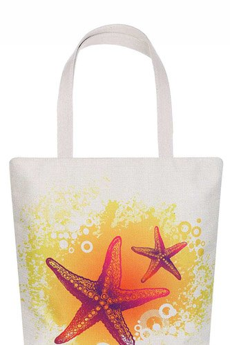 Stylish star fish print ecco tote bag-id.cc51623
