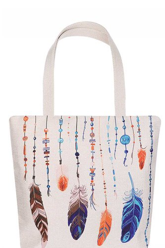 Stylish multi color feather and bead print ecco tote bag-id.cc51627