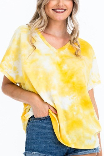 Tie-dye top featured in a v-neckline and cuff sort sleeves-id.cc51660a