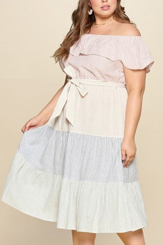Tiered off-shoulder flounce dress featuring stripe details and self ties.-id.cc51667