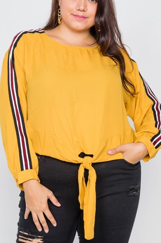 Plus size color block sleeve front knot semi-sheer top-id.cc51689