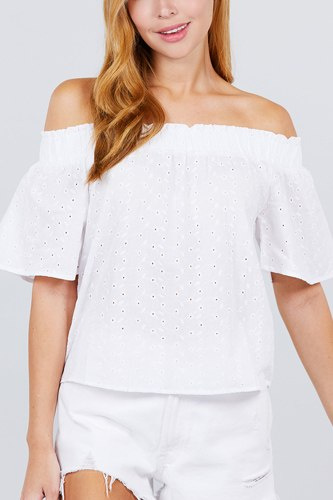 Short sleeve off the shoulder eyelet woven top-id.cc51692a