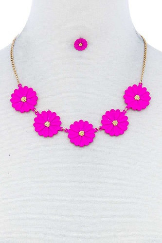 Fashion cute multi tender flower necklace and earring set-id.cc51701