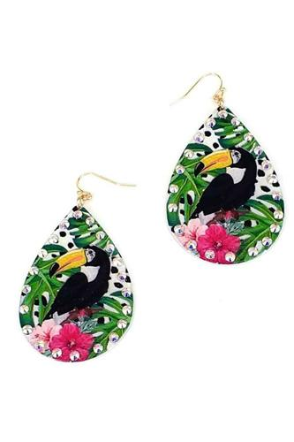 Fashion tropical bird print earring-id.cc51713