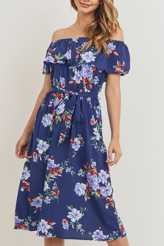 Off the shoulder waist belt with printed midi dress-id.cc51743b