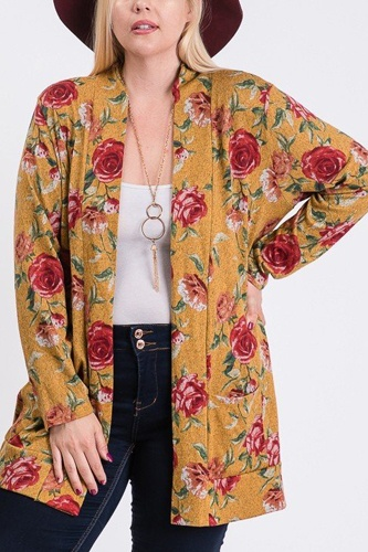 Plus size flower print pocket flower print hacci cardigan-id.cc51752