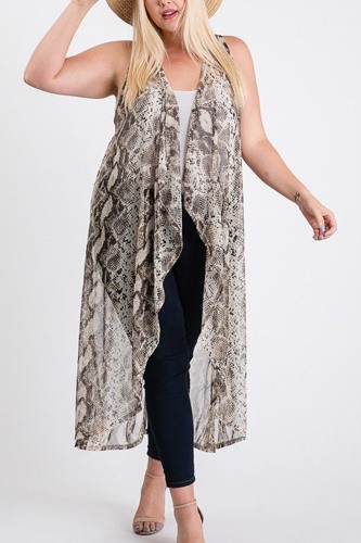 Mesh sleeveless long vest-id.cc51753