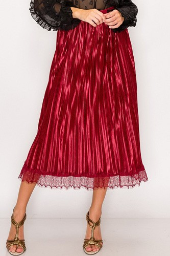 Lace trim accordion pleated midi skirt-id.cc51771a