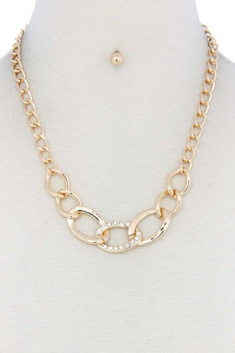 Rhinestone oval shape linked necklace-id.cc51781