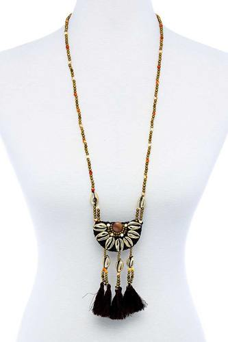 Fashion sea shell and beaded long india necklace-id.cc51783