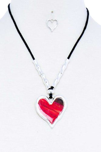 Fashion stylish heart pendant necklace and earring set-id.cc51785