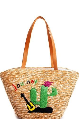 Natural straw woven cactus shopper bag-id.cc51802