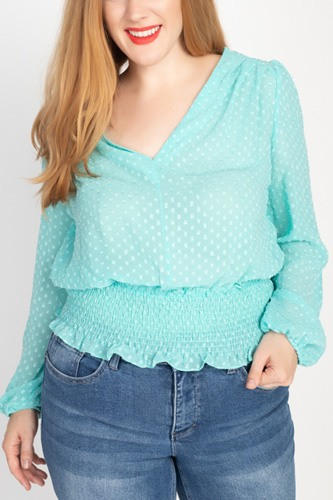 Waist smoking v neck blouse-id.cc51806
