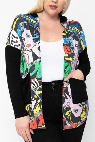 Comic print, lightweight cardigan-id.cc51811