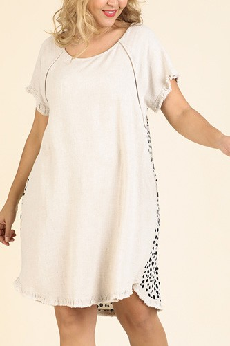 Short ruffle sleeve round neck dress with dalmatian print back and ruffle frayed scoop hem-id.cc51823a
