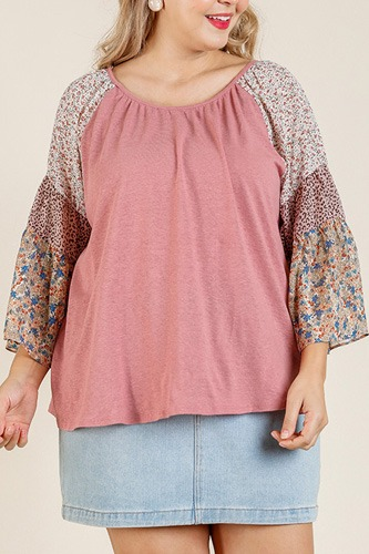Sheer mixed floral print bell sleeve round neck top-id.cc51825