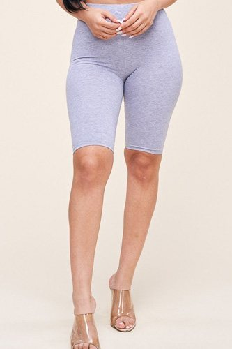 Solid cotton lycra biker length shorts-id.cc51828