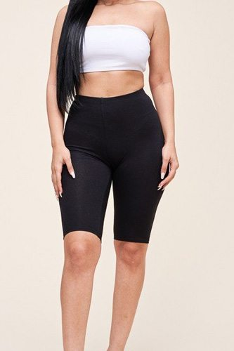 Solid cotton lycra biker length shorts-id.cc51828a