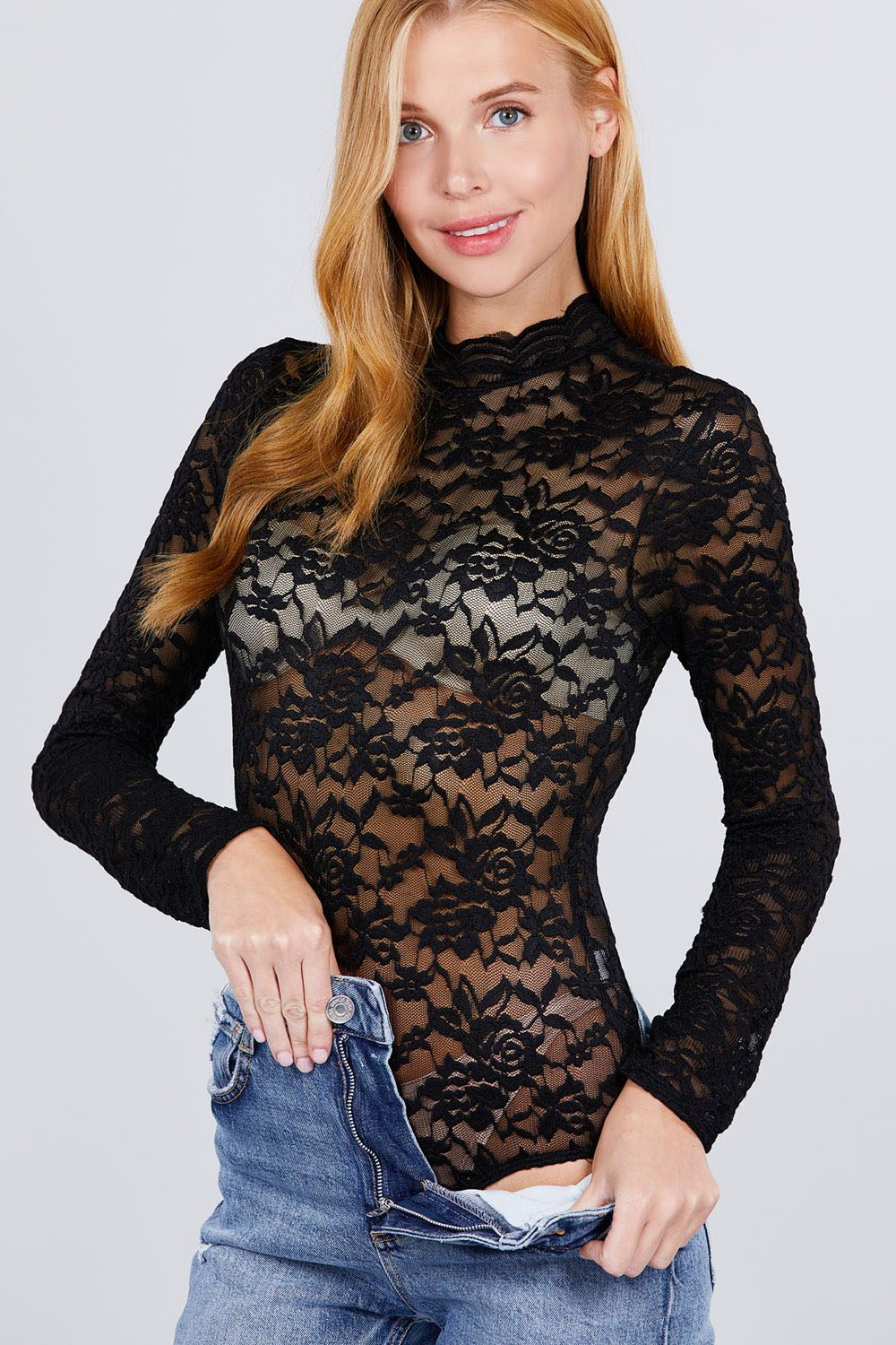 Pair the Scallop Lace Bodysuit with jeans and heels.About