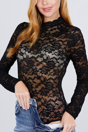 Long sleeve scallop mock neck lace bodysuit-id.cc51853
