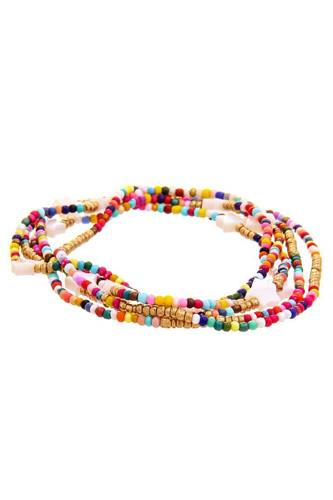 Trendy multi layer colored bead star link design bracelet-id.cc51954