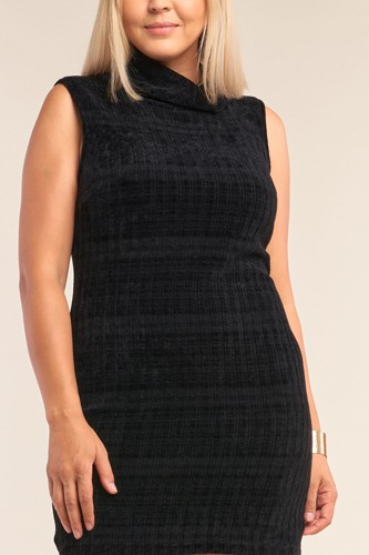 Plus size sleeveless ribbed knit semi-turtleneck mini dress-id.cc51994b
