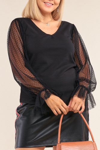 Plus size relaxed fit deep plunge v-neck long polka dot mesh balloon sleeve top-id.cc51997
