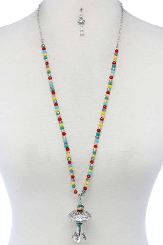 Metal pendant beaded necklace-id.cc52015