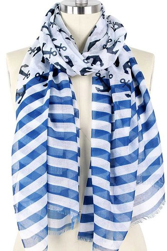 Fashion anchor and stripe print scarf-id.cc52036