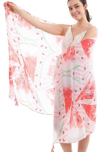 Chic cute watermelon pattern sarong scarf with tassle-id.cc52037